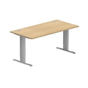 Idol Table de bureau rectangulaire Prof. 80 cm traverse pieds I fixes avec carter_